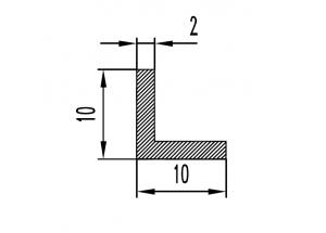 Уголок алюминиевый   БП 10х10х2 мм Вес 0.098 кг Цена за 1 м.п