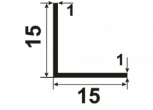 Уголок алюминиевый  15х15х1 БП Вес 0.079 кг Цена за 1 м.п.