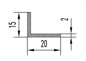 Уголок алюминиевый  20х15х2 мм Анод  Вес 0.233 кг Цена за 1 м.п.