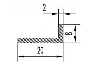Уголок алюминиевый  20х8х2 мм Анод  Вес 0.140 кг Цена за 1 м.п.