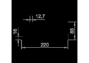 Алюминиевый радиаторный профиль 220х85 мм БП Вес 19,855 кг