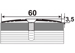 А60  Алюминиевый порожек стыковочный гладкий