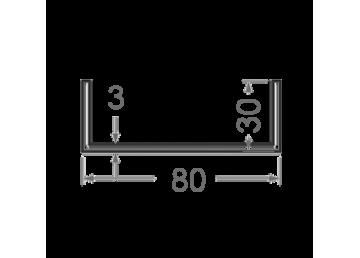 Швеллер алюминиевый 80х30х3