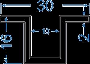 отбортованный швеллер  30х16х1.5