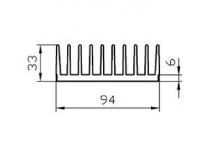 Алюминиевый радиаторный профиль 94х33 мм БП Вес 3.400 кг