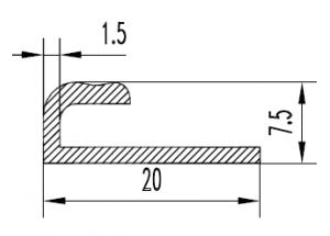 Алюминиевый L профиль 20х7,5 мм АН Вес 0.164 кг