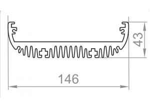Алюминиевый радиаторный профиль146х43 мм БП Вес 5,048 кг