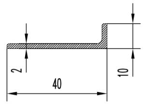 Уголок алюминиевый  40х10х2 мм Анод  Вес 0.262 кг Цена за 1 м.п.