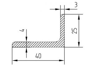 Уголок алюминиевый  40х25х4 мм Анод  Вес 0.662 кг Цена за 1 м.п.
