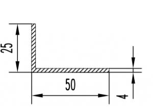 Уголок алюминиевый  50х25х4 мм Анод  Вес 0.662 кг Цена за 1 м.п.