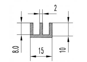 Алюминиевый Ш-профиль 15x10x2 АН Вес 0.220 кг