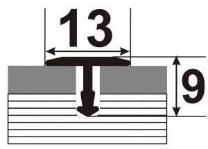 АТ 13 - Алюминиевый порожек для керамической плитки гибкий