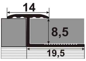 АПЗГ 14 - Алюминиевый порожек для керамической плитки гибкий
