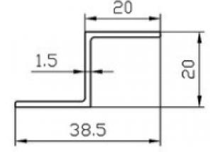 Алюминиевый Z-профиль 20x20x1,5 АН Вес 0.233 кг